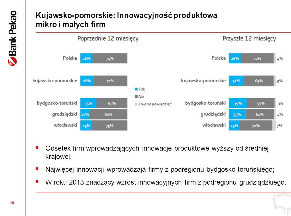 18 Kujawsko-pomorskie: Innowacyjność produktowa mikro i małych firm  Odsetek firm wprowadzających innowacje produktowe wyższy od średniej krajowej,  Najwięcej innowacji wprowadzają firmy z podregionu bydgosko-toruńskiego;  W roku 2013 znaczący wzrost innowacyjnych firm z podregionu grudziądzkiego.