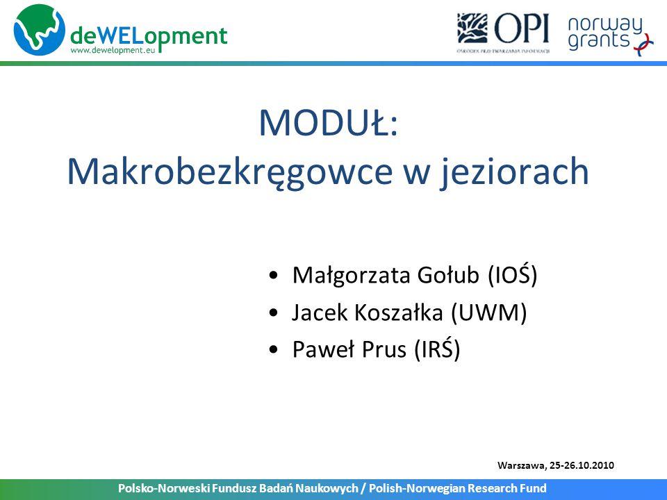 Polsko-Norweski Fundusz Badań Naukowych / Polish-Norwegian Research Fund Warszawa, 25-26.10.2010 MODUŁ: Makrobezkręgowce w jeziorach Małgorzata Gołub (IOŚ) Jacek Koszałka (UWM) Paweł Prus (IRŚ)