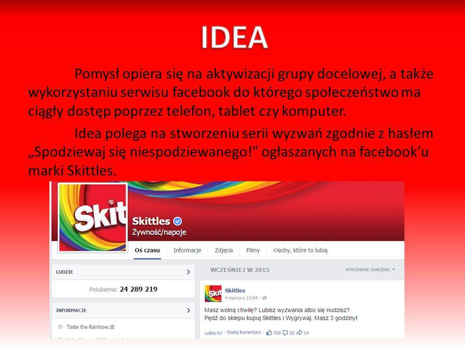Pomysł opiera się na aktywizacji grupy docelowej, a także wykorzystaniu serwisu facebook do którego społeczeństwo ma ciągły dostęp poprzez telefon, tablet czy komputer.