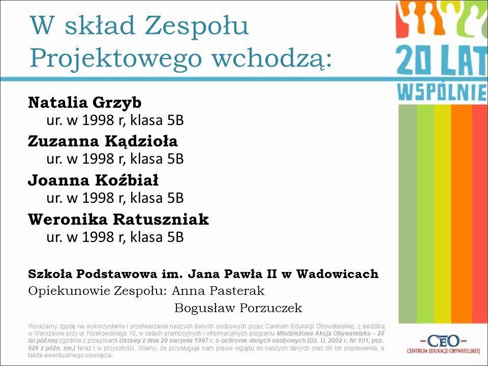 Natalia Grzyb ur. w 1998 r, klasa 5B Zuzanna Kądzioła ur.