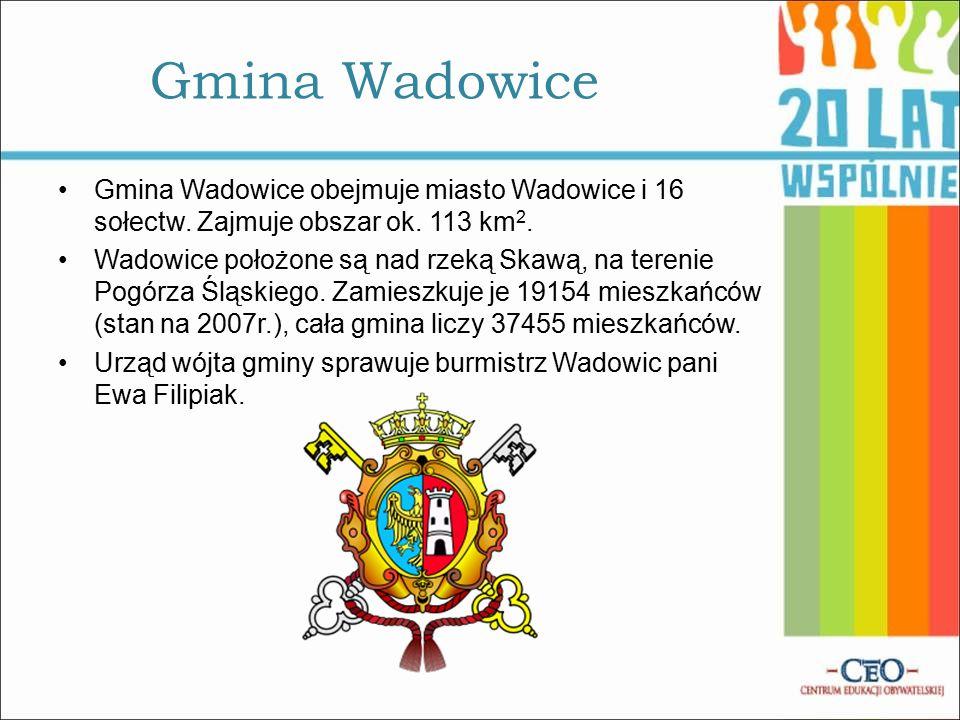 Gmina Wadowice obejmuje miasto Wadowice i 16 sołectw.