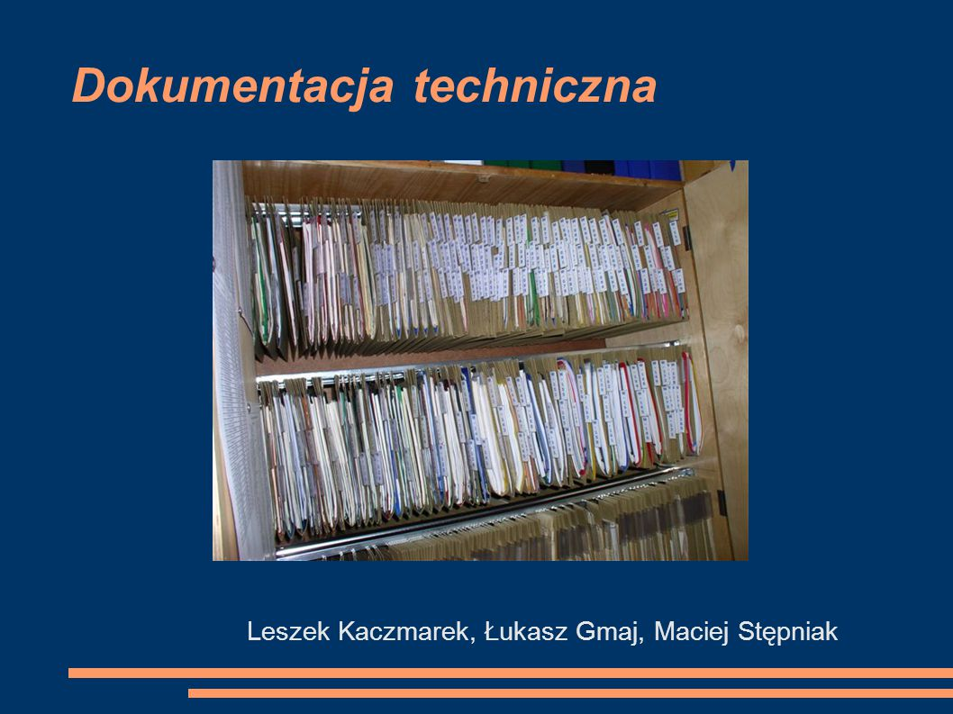 Plan prezentacji Dokumentacja techniczna oprogramowania Dokumentacja obsługi programu Zawartość dokumentacji technicznej urządzeń Opis działania układu Schemat ideowy Wykaz podzespołów elektrycznych Dokumentacja mechaniczna