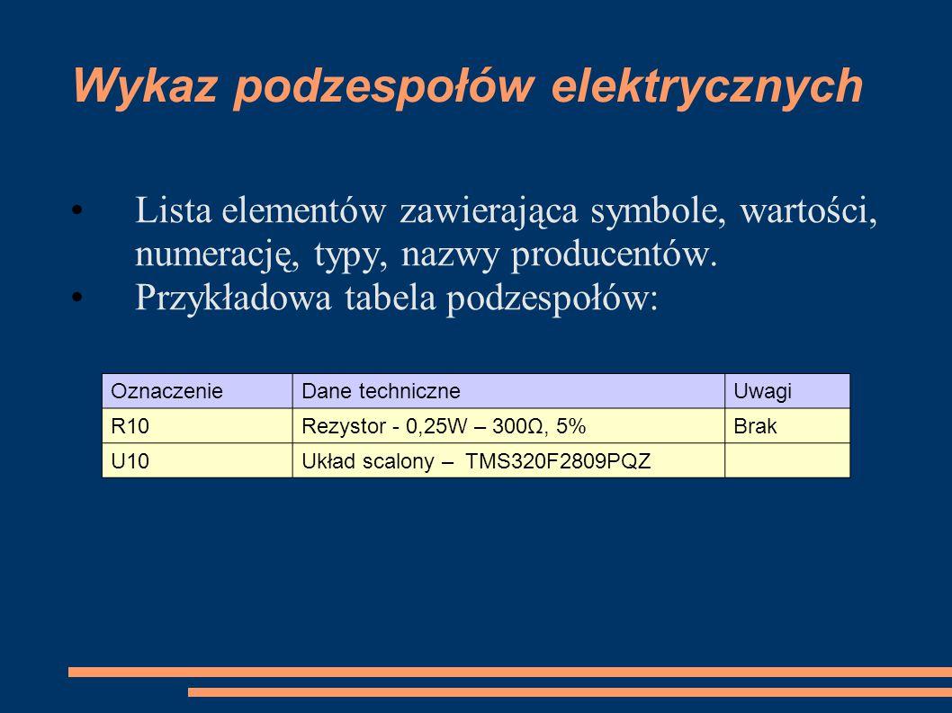 Wykaz podzespołów elektrycznych Lista elementów zawierająca symbole, wartości, numerację, typy, nazwy producentów. Przykładowa tabela podzespołów: Ozn
