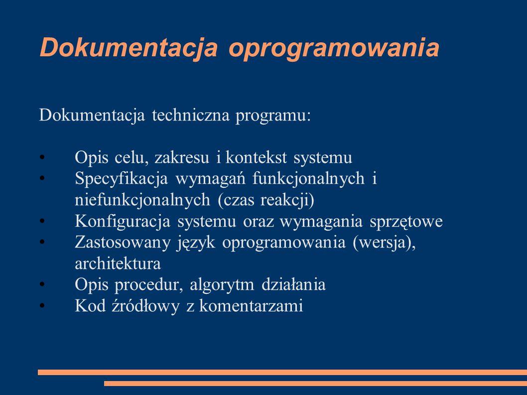 Dokumentacja oprogramowania Dokumentacja techniczna programu: Opis celu, zakresu i kontekst systemu Specyfikacja wymagań funkcjonalnych i niefunkcjona