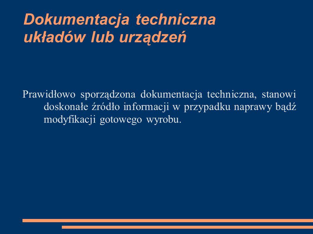 Dokumentacja techniczna układów lub urządzeń Prawidłowo sporządzona dokumentacja techniczna, stanowi doskonałe źródło informacji w przypadku naprawy b