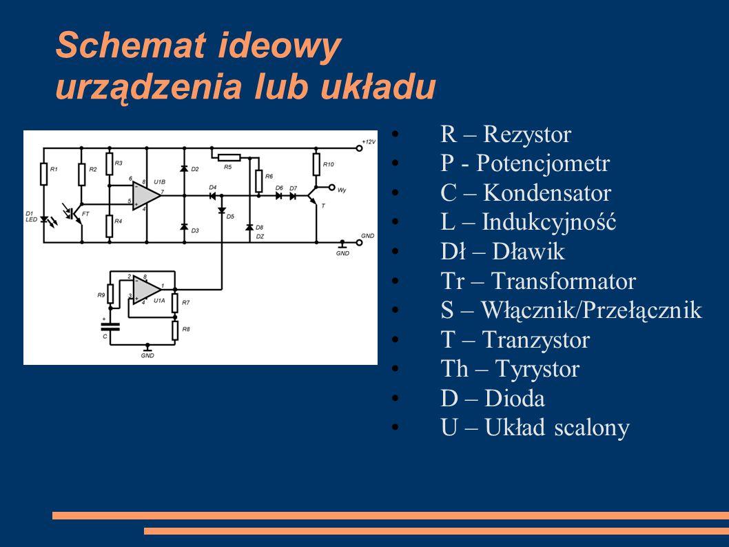 Schemat ideowy urządzenia lub układu R – Rezystor P - Potencjometr C – Kondensator L – Indukcyjność Dł – Dławik Tr – Transformator S – Włącznik/Przełą