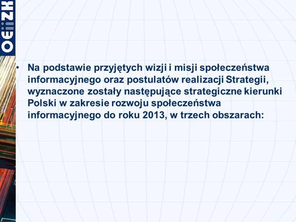 Na podstawie przyjętych wizji i misji społeczeństwa informacyjnego oraz postulatów realizacji Strategii, wyznaczone zostały następujące strategiczne kierunki Polski w zakresie rozwoju społeczeństwa informacyjnego do roku 2013, w trzech obszarach: