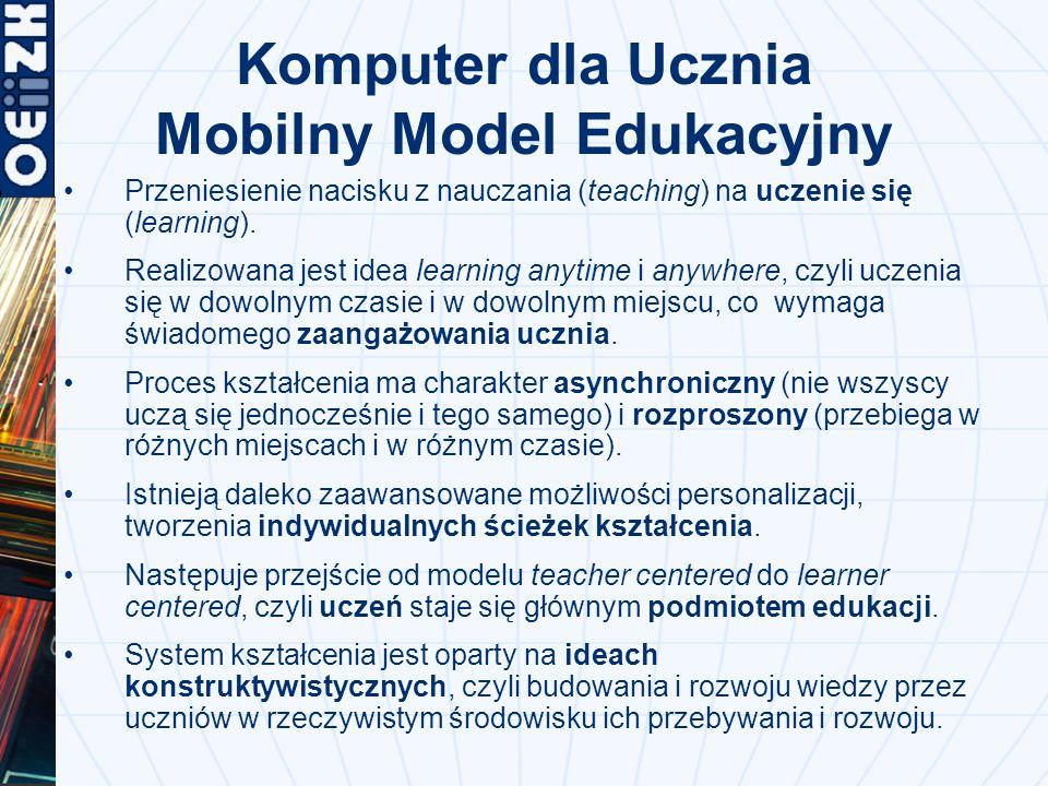 Komputer dla Ucznia Mobilny Model Edukacyjny Przeniesienie nacisku z nauczania (teaching) na uczenie się (learning).