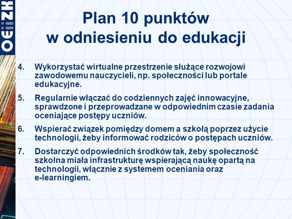 Plan 10 punktów w odniesieniu do edukacji 4.Wykorzystać wirtualne przestrzenie służące rozwojowi zawodowemu nauczycieli, np.