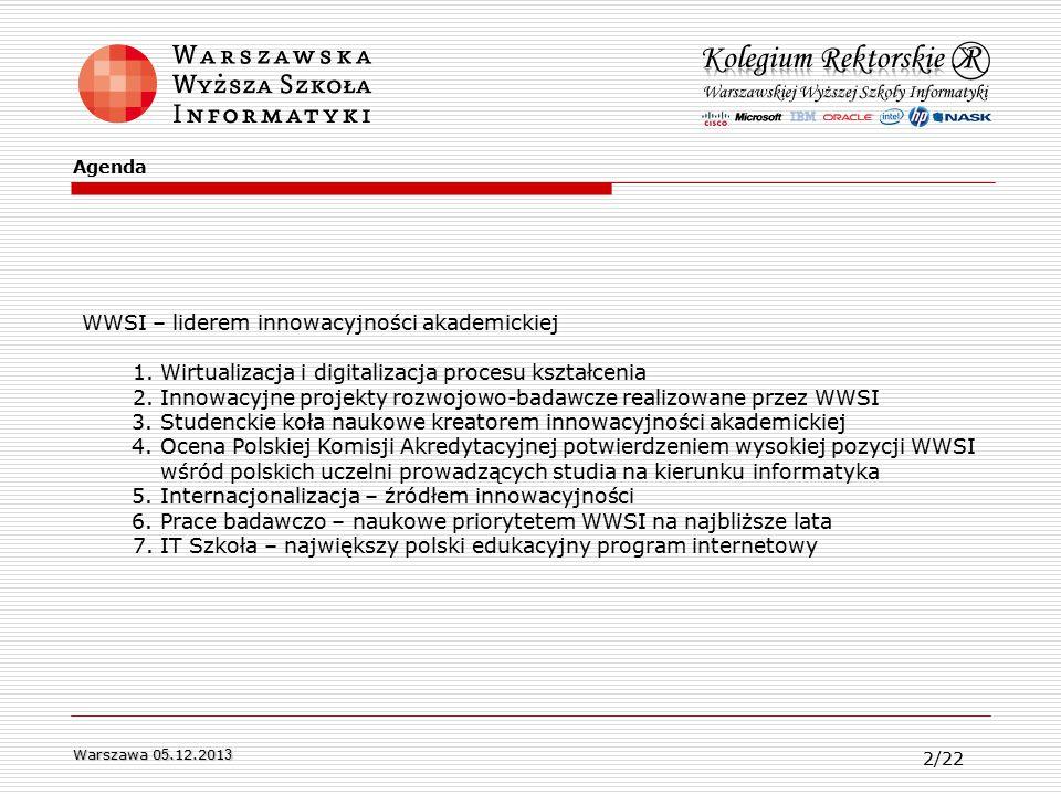 WWSI – liderem innowacyjności akademickiej 1. Wirtualizacja i digitalizacja procesu kształcenia 2.