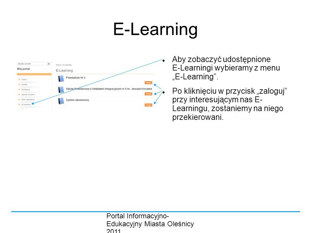 """Portal Informacyjno- Edukacyjny Miasta Oleśnicy 2011 E-Learning Aby zobaczyć udostępnione E-Learningi wybieramy z menu """"E-Learning ."""