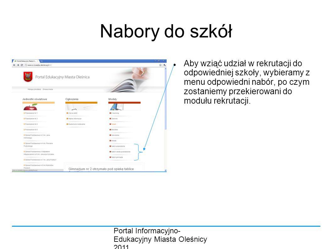 Portal Informacyjno- Edukacyjny Miasta Oleśnicy 2011 Nabory do szkół Aby wziąć udział w rekrutacji do odpowiedniej szkoły, wybieramy z menu odpowiedni nabór, po czym zostaniemy przekierowani do modułu rekrutacji.