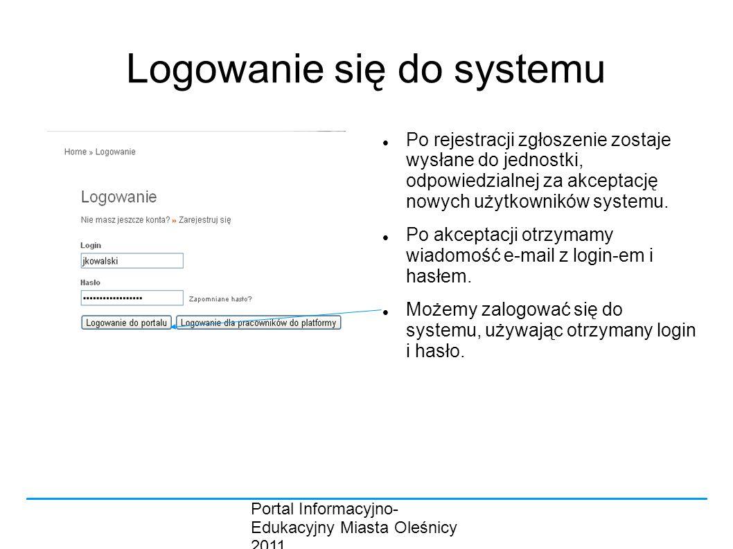 Portal Informacyjno- Edukacyjny Miasta Oleśnicy 2011 Logowanie się do systemu Po rejestracji zgłoszenie zostaje wysłane do jednostki, odpowiedzialnej za akceptację nowych użytkowników systemu.