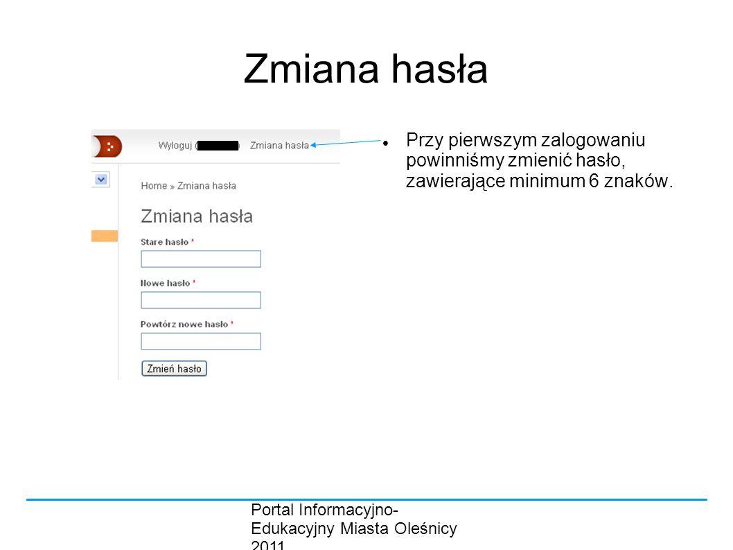 Portal Informacyjno- Edukacyjny Miasta Oleśnicy 2011 Zmiana hasła Przy pierwszym zalogowaniu powinniśmy zmienić hasło, zawierające minimum 6 znaków.