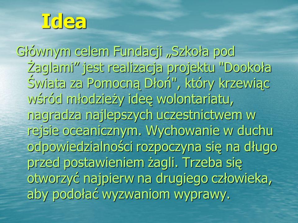 """Idea Idea Głównym celem Fundacji """"Szkoła pod Żaglami jest realizacja projektu Dookoła Świata za Pomocną Dłoń , który krzewiąc wśród młodzieży ideę wolontariatu, nagradza najlepszych uczestnictwem w rejsie oceanicznym."""