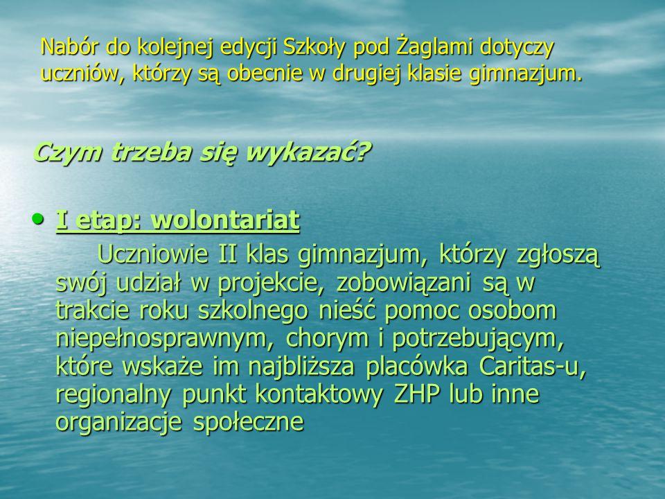Nabór do kolejnej edycji Szkoły pod Żaglami dotyczy uczniów, którzy są obecnie w drugiej klasie gimnazjum.