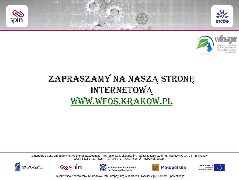ZAPRASZAMY NA NASZ Ą STRON Ę INTERNETOW Ą www.wfos.krakow.pl