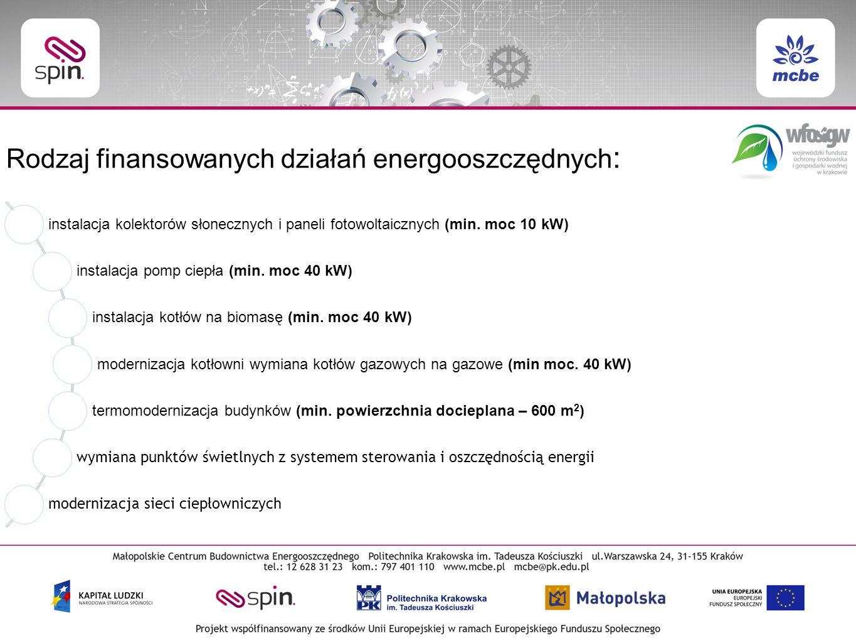Rodzaj finansowanych działań energooszczędnych : instalacja kolektorów słonecznych i paneli fotowoltaicznych (min.
