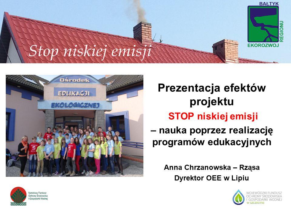 Prezentacja efektów projektu STOP niskiej emisji – nauka poprzez realizację programów edukacyjnych Anna Chrzanowska – Rząsa Dyrektor OEE w Lipiu