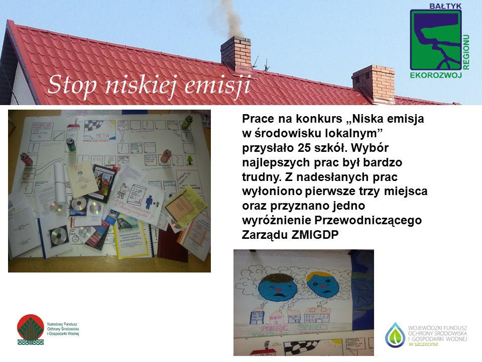"""Prace na konkurs """"Niska emisja w środowisku lokalnym"""" przysłało 25 szkół. Wybór najlepszych prac był bardzo trudny. Z nadesłanych prac wyłoniono pierw"""