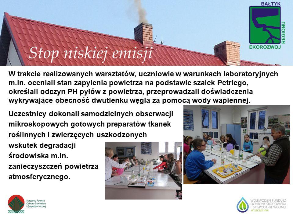 W trakcie realizowanych warsztatów, uczniowie w warunkach laboratoryjnych m.in. oceniali stan zapylenia powietrza na podstawie szalek Petriego, określ
