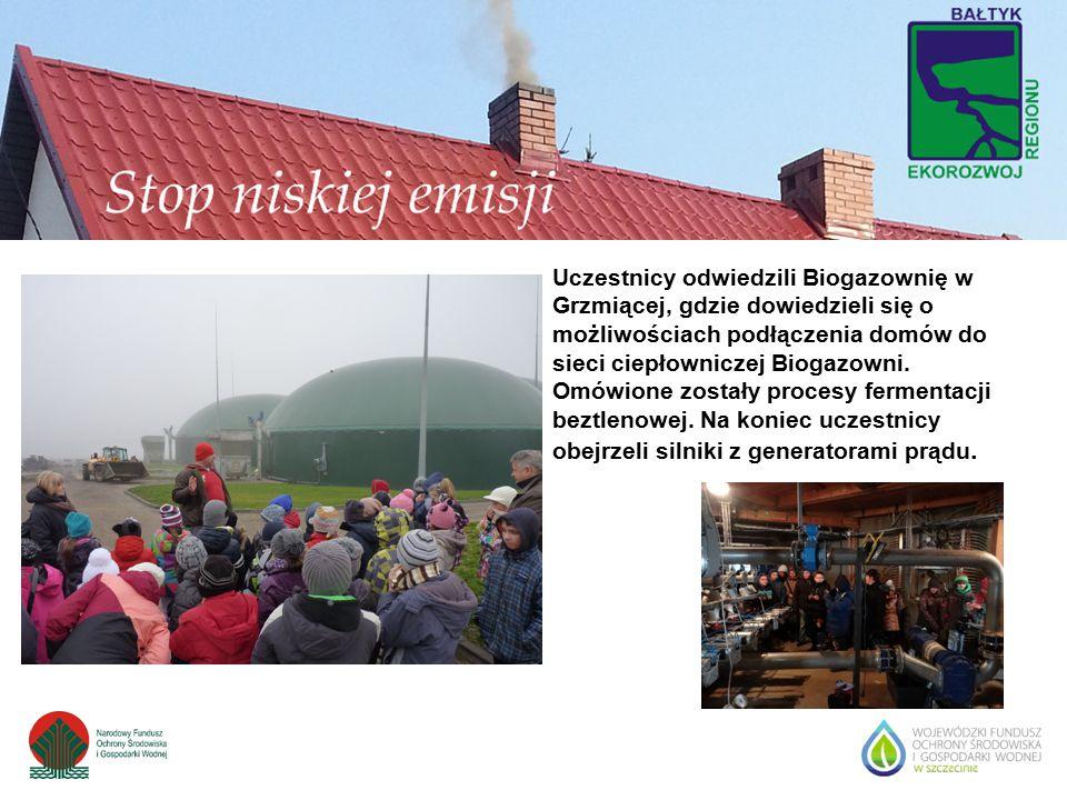Uczestnicy odwiedzili Biogazownię w Grzmiącej, gdzie dowiedzieli się o możliwościach podłączenia domów do sieci ciepłowniczej Biogazowni. Omówione zos