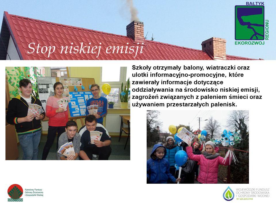 Szkoły otrzymały balony, wiatraczki oraz ulotki informacyjno-promocyjne, które zawierały informacje dotyczące oddziaływania na środowisko niskiej emis