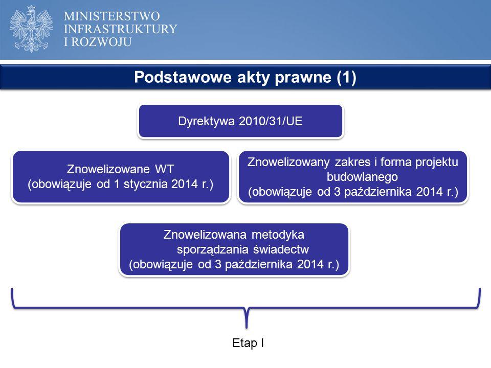 Dyrektywa 2010/31/UE Podstawowe akty prawne (1) Znowelizowane WT (obowiązuje od 1 stycznia 2014 r.) Znowelizowane WT (obowiązuje od 1 stycznia 2014 r.