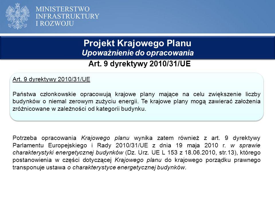 Projekt Krajowego Planu Upoważnienie do opracowania Projekt Krajowego Planu Upoważnienie do opracowania Art. 9 dyrektywy 2010/31/UE Państwa członkowsk