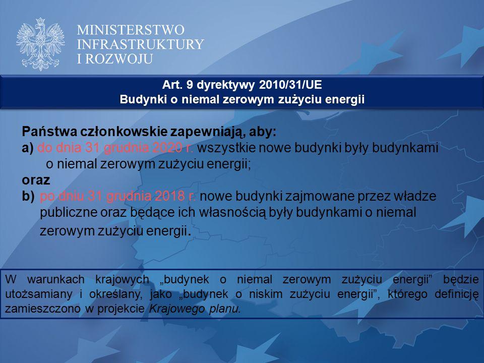 Państwa członkowskie zapewniają, aby: a) do dnia 31 grudnia 2020 r. wszystkie nowe budynki były budynkami o niemal zerowym zużyciu energii; oraz b)po