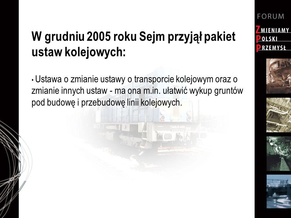 W grudniu 2005 roku Sejm przyjął pakiet ustaw kolejowych: Ustawa o zmianie ustawy o transporcie kolejowym oraz o zmianie innych ustaw - ma ona m.in. u