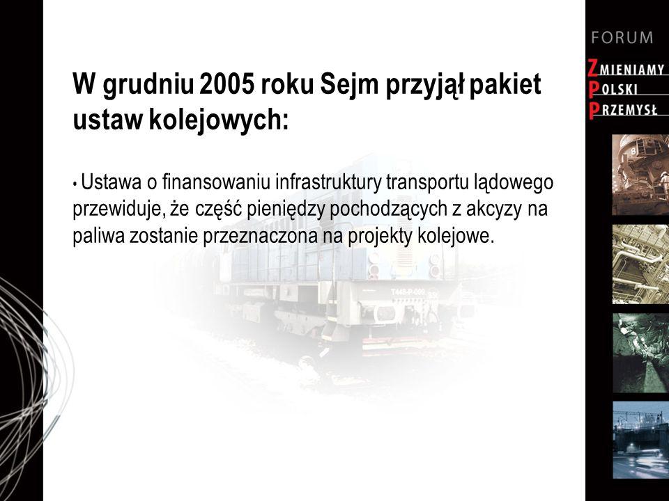 W grudniu 2005 roku Sejm przyjął pakiet ustaw kolejowych: Ustawa o finansowaniu infrastruktury transportu lądowego przewiduje, że część pieniędzy pochodzących z akcyzy na paliwa zostanie przeznaczona na projekty kolejowe.