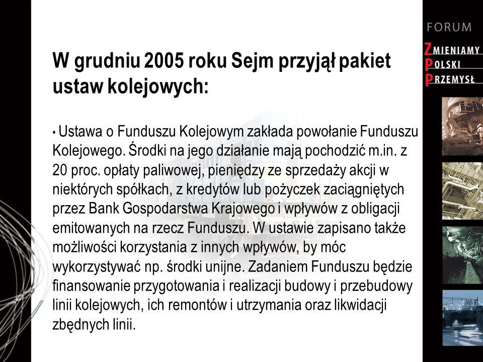 W grudniu 2005 roku Sejm przyjął pakiet ustaw kolejowych: Ustawa o Funduszu Kolejowym zakłada powołanie Funduszu Kolejowego. Środki na jego działanie