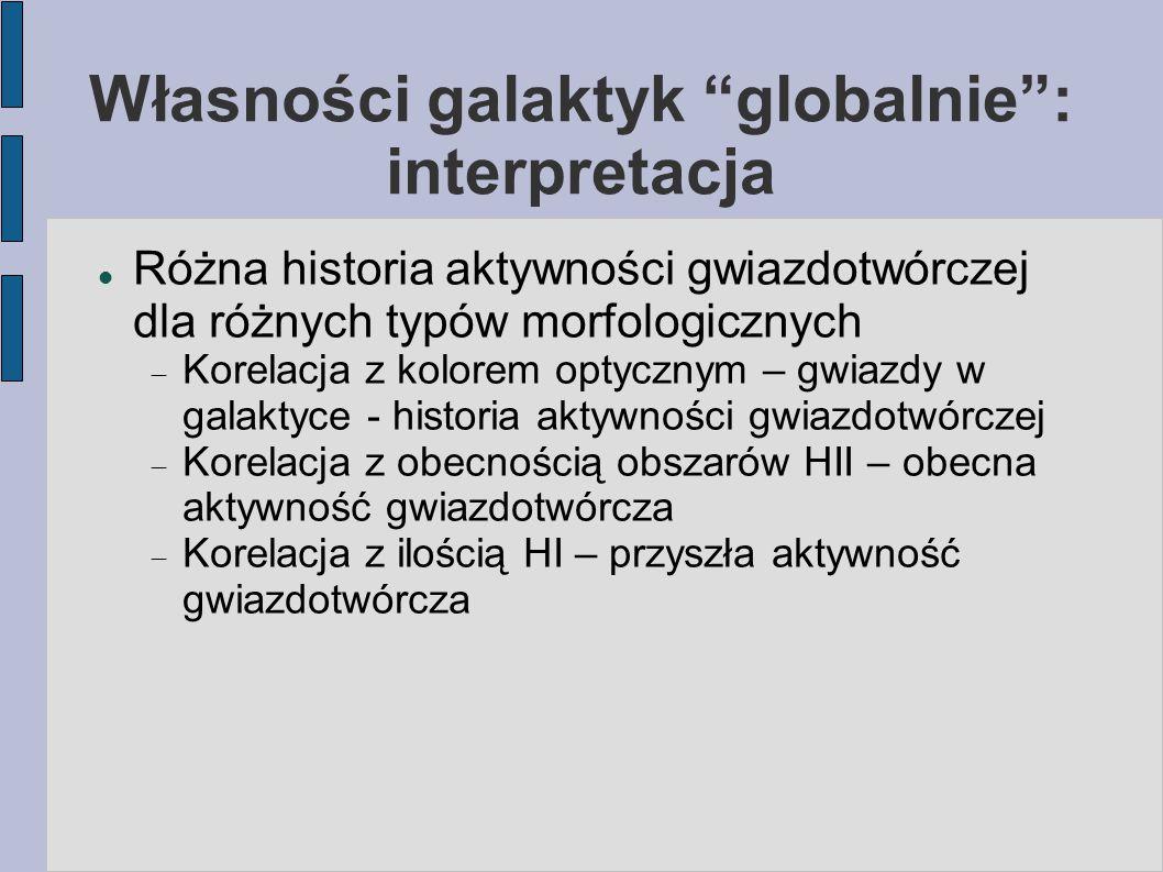 Własności galaktyk globalnie : interpretacja Różna historia aktywności gwiazdotwórczej dla różnych typów morfologicznych  Korelacja z kolorem optycznym – gwiazdy w galaktyce - historia aktywności gwiazdotwórczej  Korelacja z obecnością obszarów HII – obecna aktywność gwiazdotwórcza  Korelacja z ilością HI – przyszła aktywność gwiazdotwórcza
