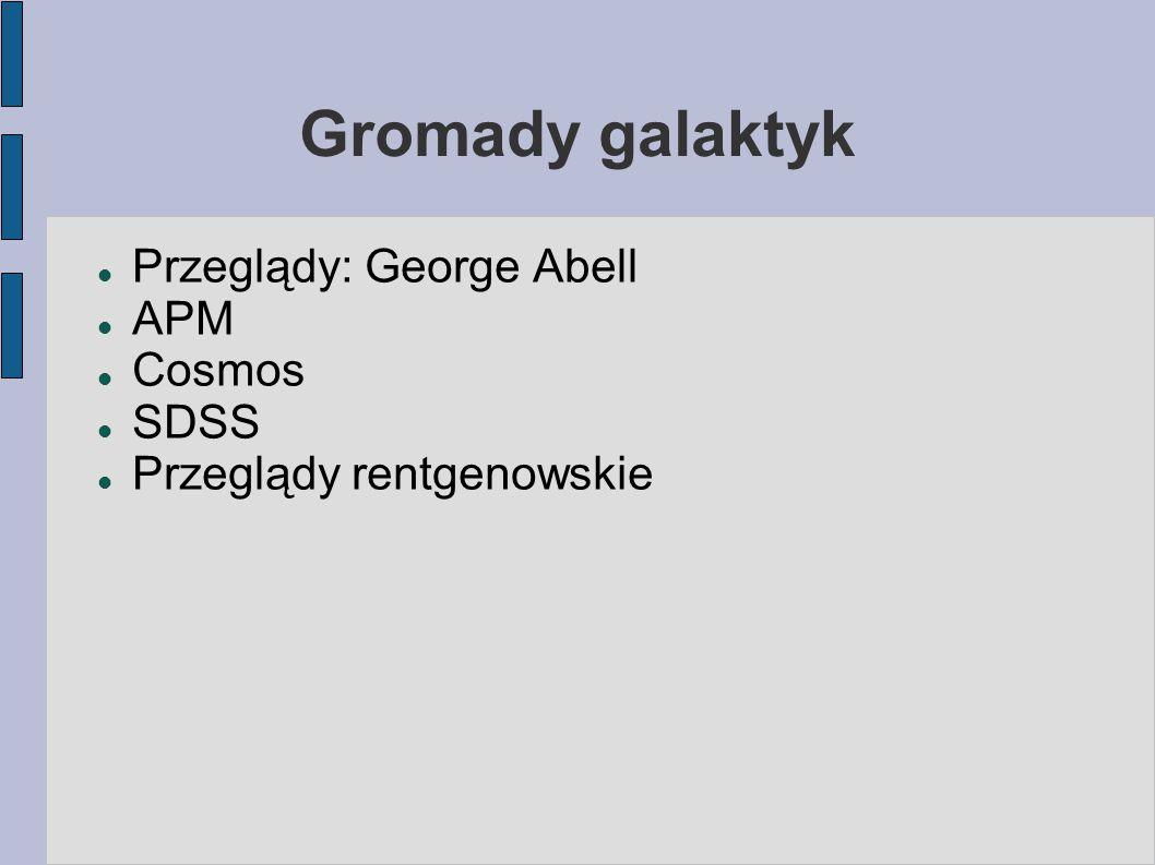 Gromady galaktyk Przeglądy: George Abell APM Cosmos SDSS Przeglądy rentgenowskie