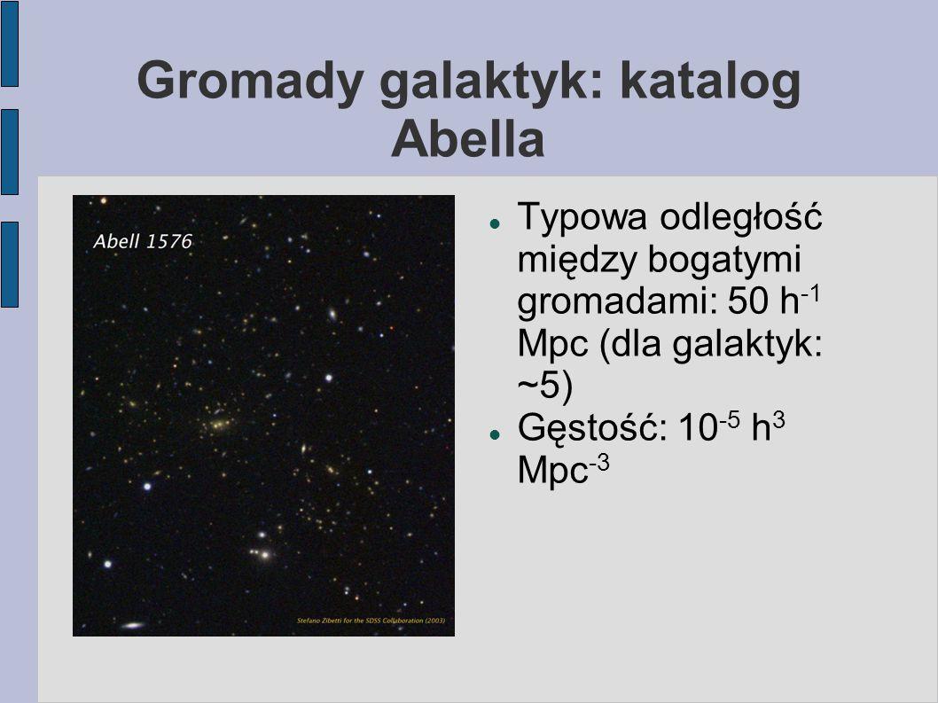 Gromady galaktyk: katalog Abella Typowa odległość między bogatymi gromadami: 50 h -1 Mpc (dla galaktyk: ~5) Gęstość: 10 -5 h 3 Mpc -3
