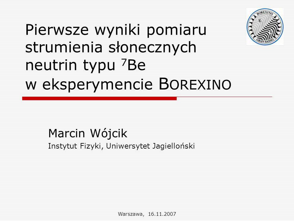 Warszawa, 16.11.2007 B OREXINO : charakterystyka tła  Triger: 15 zdarzeń/s, głównie 14 C  miony w scyntylatorze i buforze: 0.055/s (5000/d)  14 C: 14 C/ 12 C  2.7·10 -18  222 Rn: opóźniona koincydencja /α: 214 Bi/ 214 Po, τ = 236 s, 2 zdarzenia/(d·100 ton) → 238 U jest na poziomie 2·10 -17 g/g.