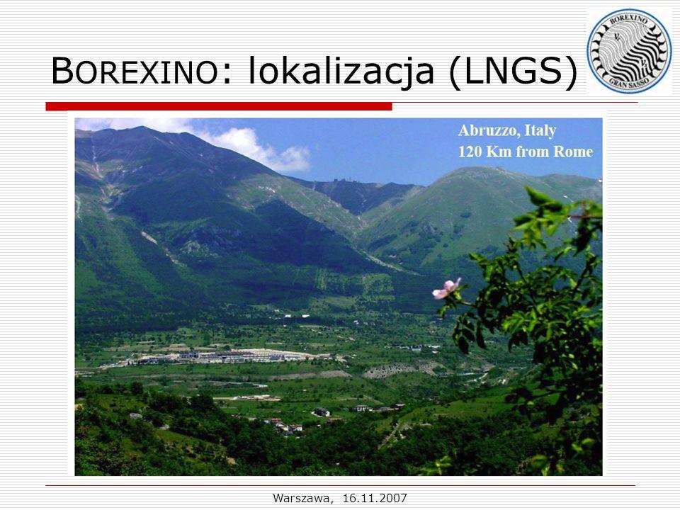 Warszawa, 16.11.2007 B OREXINO : lokalizacja (LNGS)