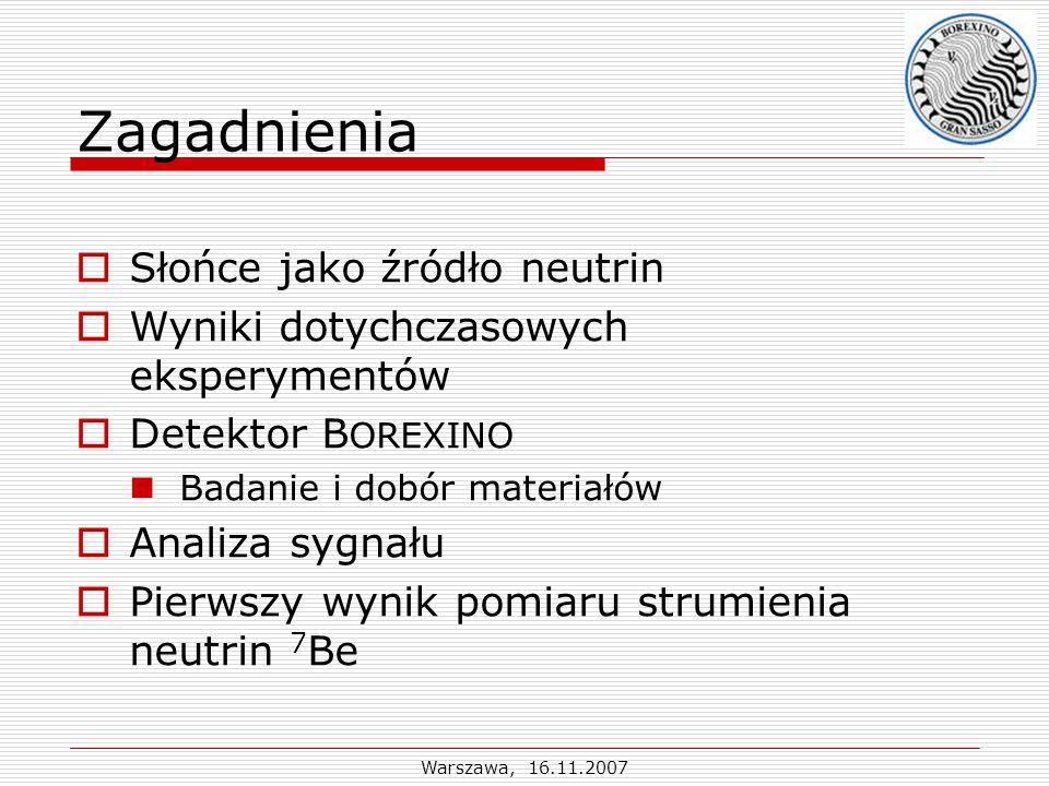 Warszawa, 16.11.2007 Słońce jako źródło neutrin Założenia SMS: - Równowaga termiczna i hydro- statyczna - Radiacyjny transport energii - Termojądrowe źródło energii Obserwable: Masa: 1.9910 30 kg Wiek: 4.5710 9 lat Promień: 6.9610 8 m Moc: 3.8410 20 MW Powierzchnia: T s = 5780 K, H: 73 % He: 25 %,Z>2: 2 % Centrum: T c = 15.810 6 K, H: 33.3 % He: 64.6 %,Z>2: 2.1 %  = 1.610 5 kg/m 3