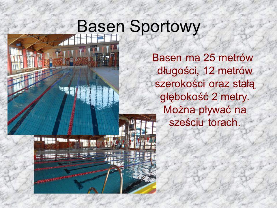 Basen ma 25 metrów długości, 12 metrów szerokości oraz stałą głębokość 2 metry.