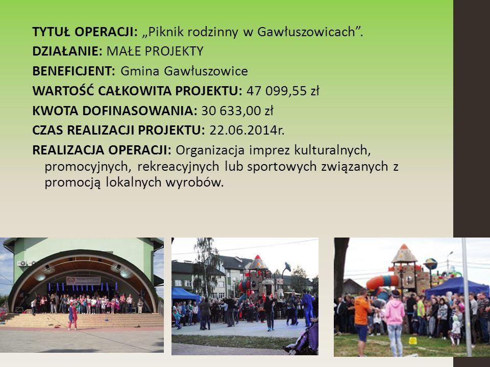 """TYTUŁ OPERACJI: """"Piknik rodzinny w Gawłuszowicach ."""