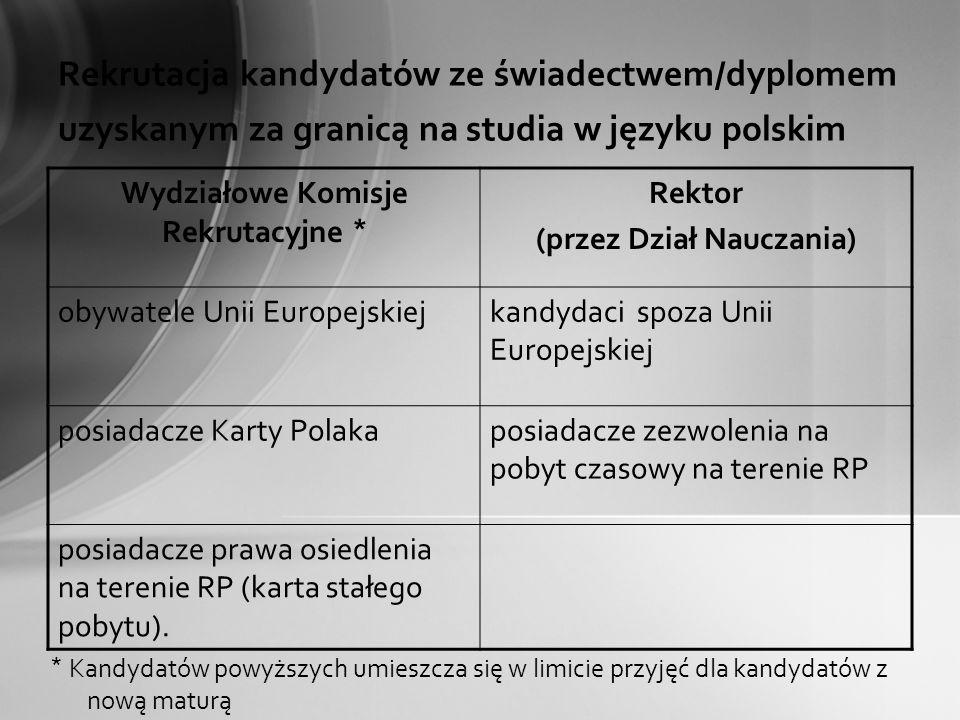 Rekrutacja kandydatów ze świadectwem/dyplomem uzyskanym za granicą na studia w języku polskim Wydziałowe Komisje Rekrutacyjne * Rektor (przez Dział Na
