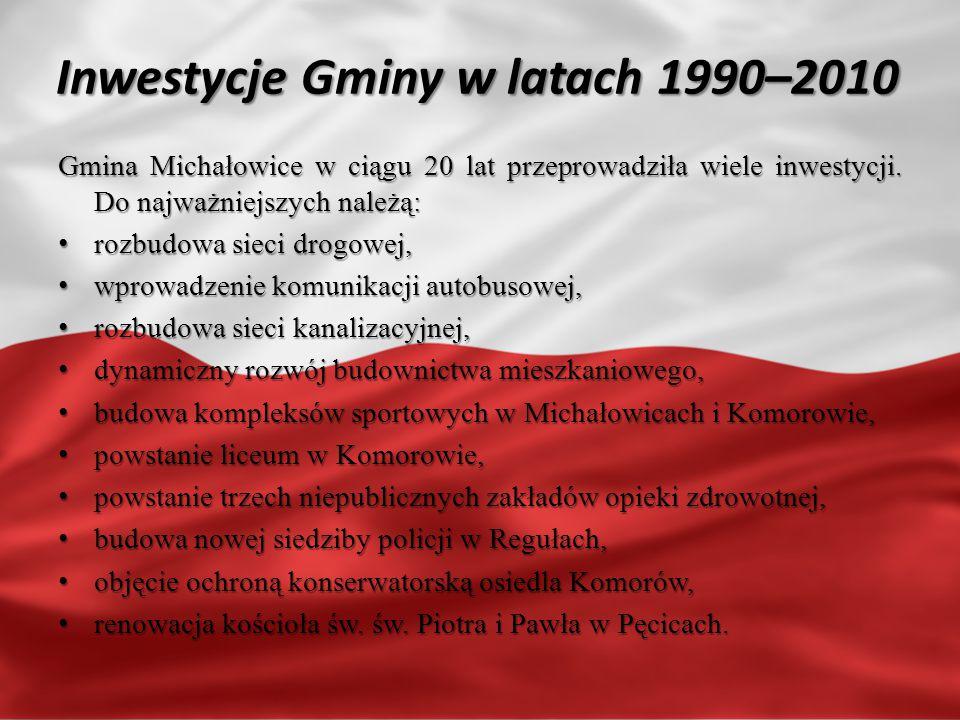 Inwestycje Gminy w latach 1990–2010 Gmina Michałowice w ciągu 20 lat przeprowadziła wiele inwestycji.