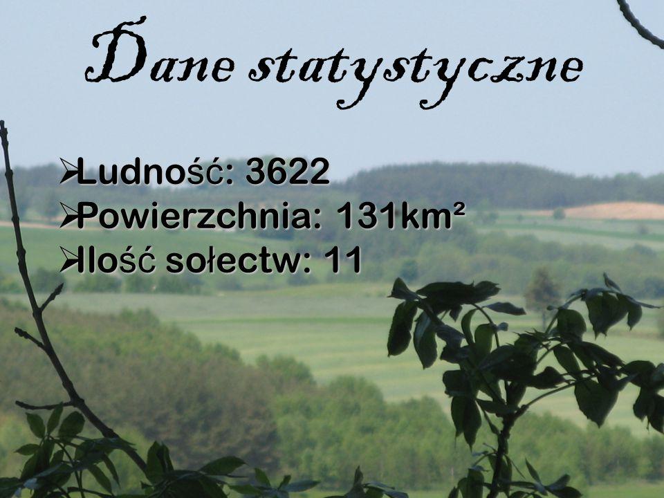 Dane statystyczne  Ludno ść : 3622  Powierzchnia: 131km²  Ilo ść so ł ectw: 11