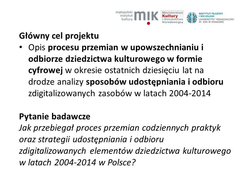 Główny cel projektu Opis procesu przemian w upowszechnianiu i odbiorze dziedzictwa kulturowego w formie cyfrowej w okresie ostatnich dziesięciu lat na drodze analizy sposobów udostępniania i odbioru zdigitalizowanych zasobów w latach 2004-2014 Pytanie badawcze Jak przebiegał proces przemian codziennych praktyk oraz strategii udostępniania i odbioru zdigitalizowanych elementów dziedzictwa kulturowego w latach 2004-2014 w Polsce