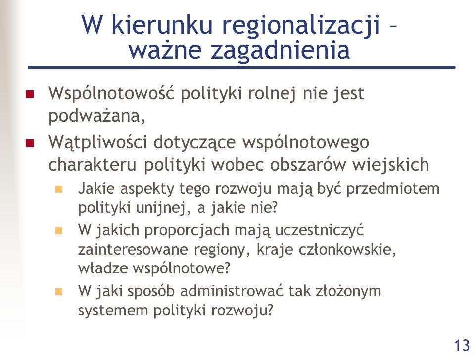 13 W kierunku regionalizacji – ważne zagadnienia Wspólnotowość polityki rolnej nie jest podważana, Wątpliwości dotyczące wspólnotowego charakteru poli