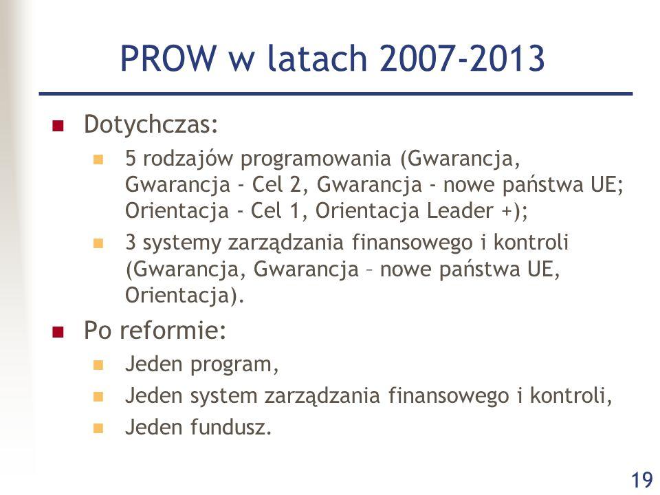 19 PROW w latach 2007-2013 Dotychczas: 5 rodzajów programowania (Gwarancja, Gwarancja - Cel 2, Gwarancja - nowe państwa UE; Orientacja - Cel 1, Orient