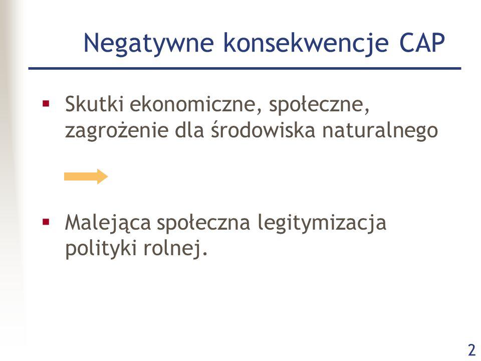2 Negatywne konsekwencje CAP  Skutki ekonomiczne, społeczne, zagrożenie dla środowiska naturalnego  Malejąca społeczna legitymizacja polityki rolnej