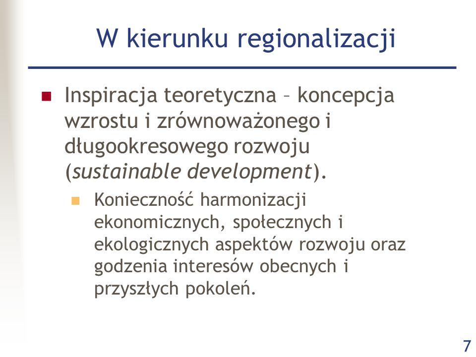 7 W kierunku regionalizacji Inspiracja teoretyczna – koncepcja wzrostu i zrównoważonego i długookresowego rozwoju (sustainable development). Konieczno
