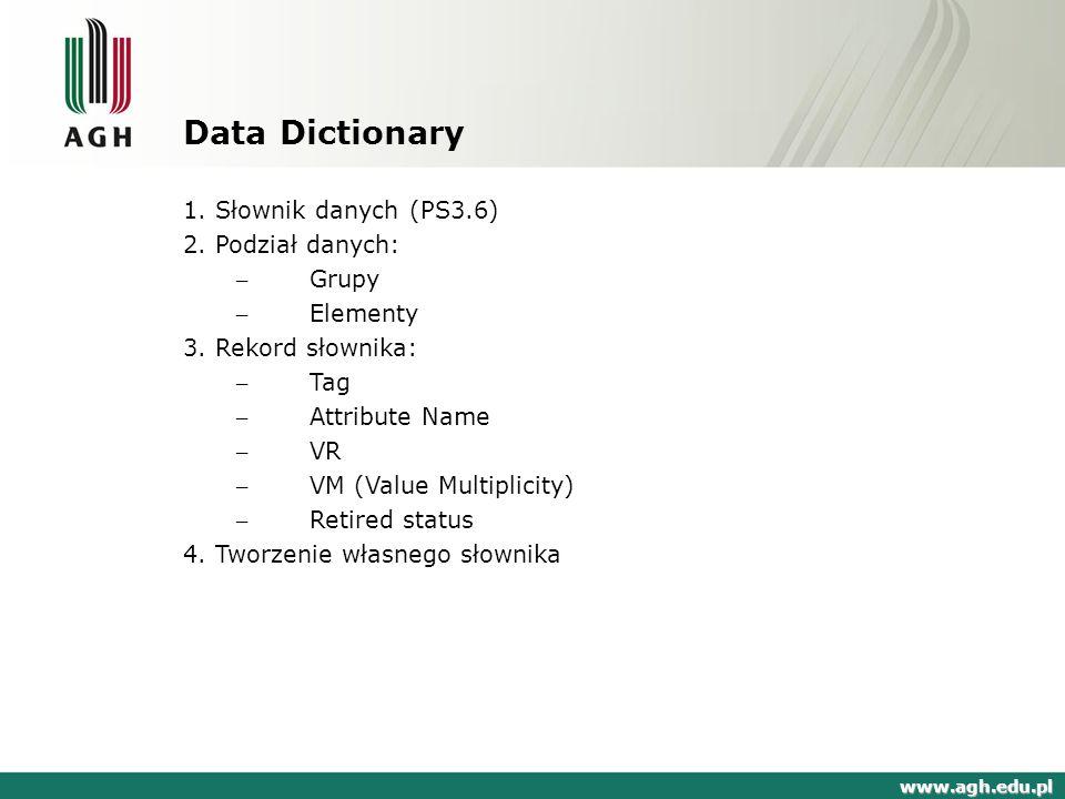 Obiekt DICOM - przykład www.agh.edu.pl DICOM to zbiór atomicznych danych zgodnych z formatem standardu.